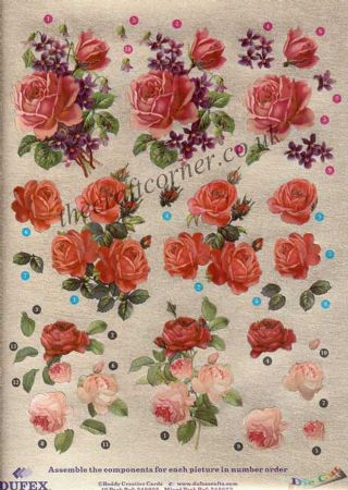 Rose Flowers Die Cut 3d Decoupage Sheet From Dufex